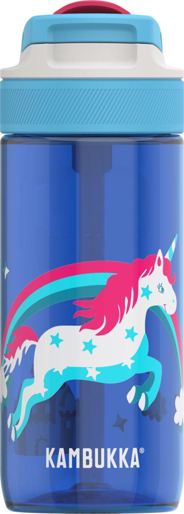 """בקבוק שתיה ילדים 500 מ""""ל כחול Kambukka Lagoon Rainbow Unicorn קמבוקה"""