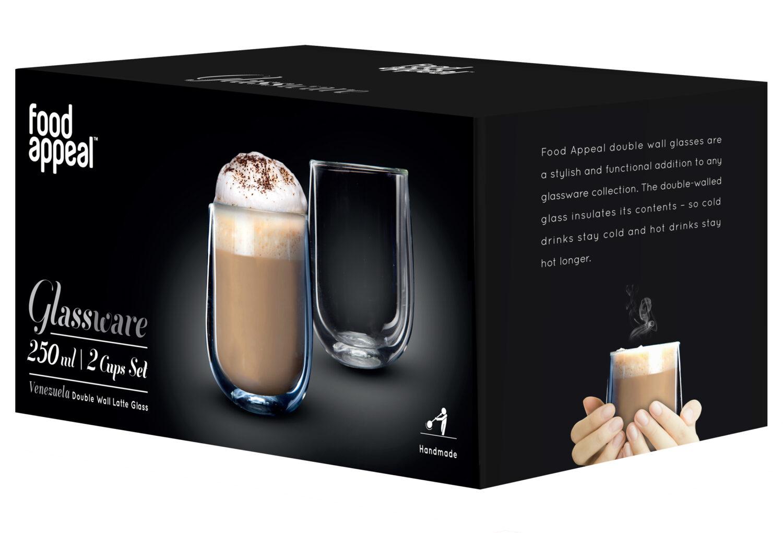 "Food Appeal פוד אפיל Latte Venezuela סט 2 כוסות דאבל 250 מ""ל"