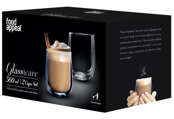 "Food Appeal פוד אפיל Latte Venezuela סט 2 כוסות דאבל 360 מ""ל"