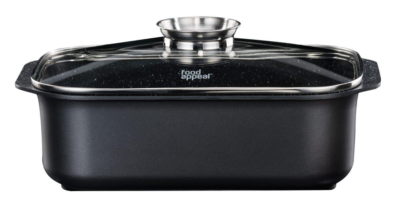 """רוסטר אינדוקציה עם מכסה ארומטי 26 × 39 ס""""מ 7.8 ליטר Food Appeal Black Marble"""
