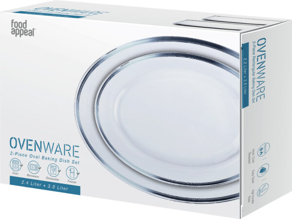 סט 2 תבניות אפייהאובליותOvenware מזכוכית3 ליטר | 2.4 ליטר