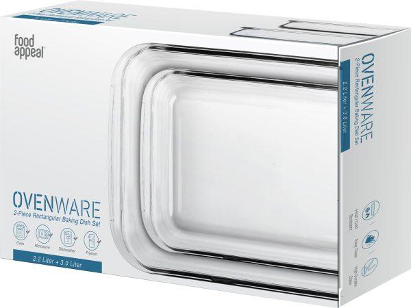 סט 2 תבניות אפייה מרובעות Ovenware מזכוכית3 ליטר | 2.2 ליטר
