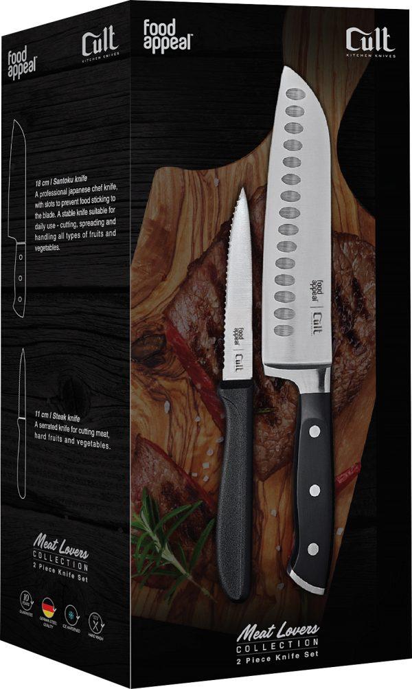 """סט 2 סכינים - סכין סנטוקו 18 ס""""מ + סכין סטייק 11 ס""""מ Food Appeal Cult פוד אפיל"""