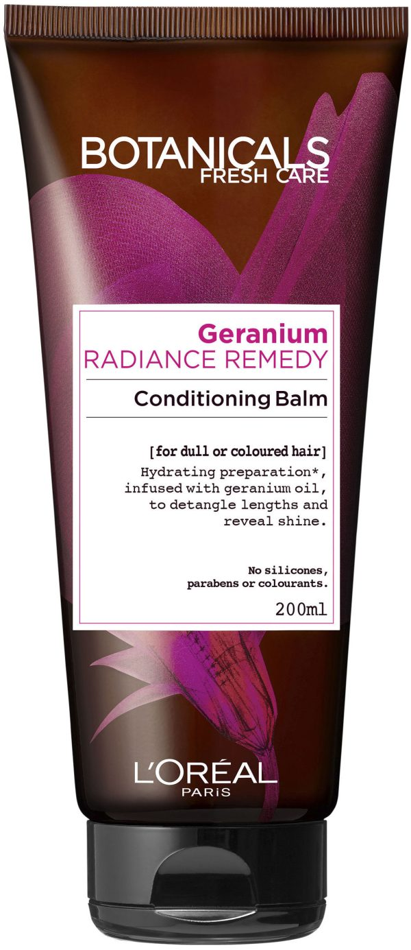 "מרכך לזוהר וברק לשיער צבוע 200 מ""ל L'Oréal Paris Botanicals Fresh Care Geranium Radiance Remedy Conditioning Balm"