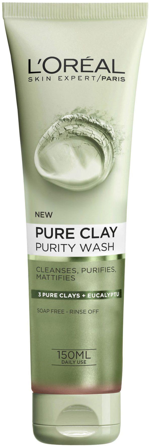תרחיץ פנים ירוק 150 מ״ל Pure Clay Purity Wash 3 Pure Clays +Eucalyptu