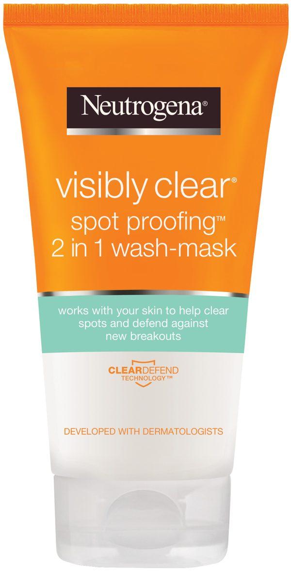 ניוטרוג'ינה תרחיץ ומסיכה לפנים 2 ב-1 למניעת פצעונים ®Visibly Clear