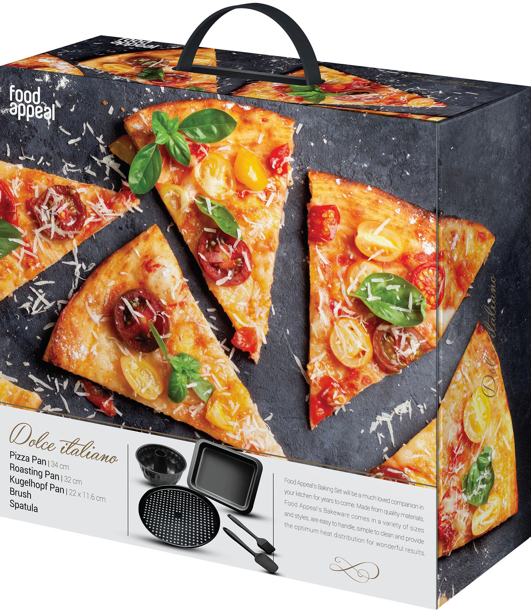 """סט אפייה 5 חלקים תבנית פיצה מחוררת 34 ס""""מ + תבנית רוסטר 25 × 32 ס""""מ + תבנית קוגלהוף 12 × 22 ס""""מ + לקקן מבית Food Appeal"""