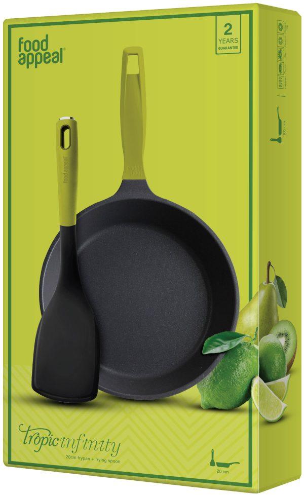 """מחבת 20 ס""""מ + כף טיגון ירוקה מבית Food Appeal"""