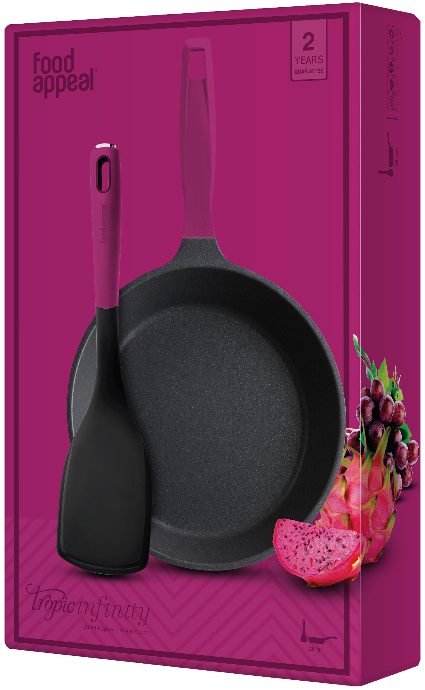 """מחבת 26 ס""""מ + כף טיגון סגולה מבית Food Appeal"""