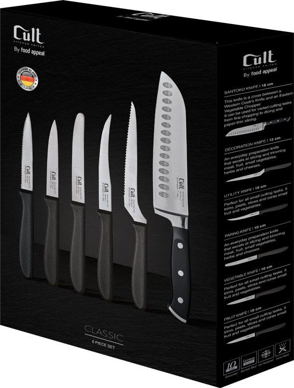 """סט 6 סכינים סכין סנטוקו 18 ס""""מ, סכין מדורגת ומשוננת 15 ס""""מ, סכין עגבניה 12ס""""מ, סכין קילוף 10 ס״מ"""
