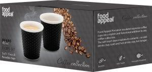 """זוג כוסות אספרסו פורצלן עם שרוול סיליקון 80 מ""""ל Food Appeal פוד אפיל"""