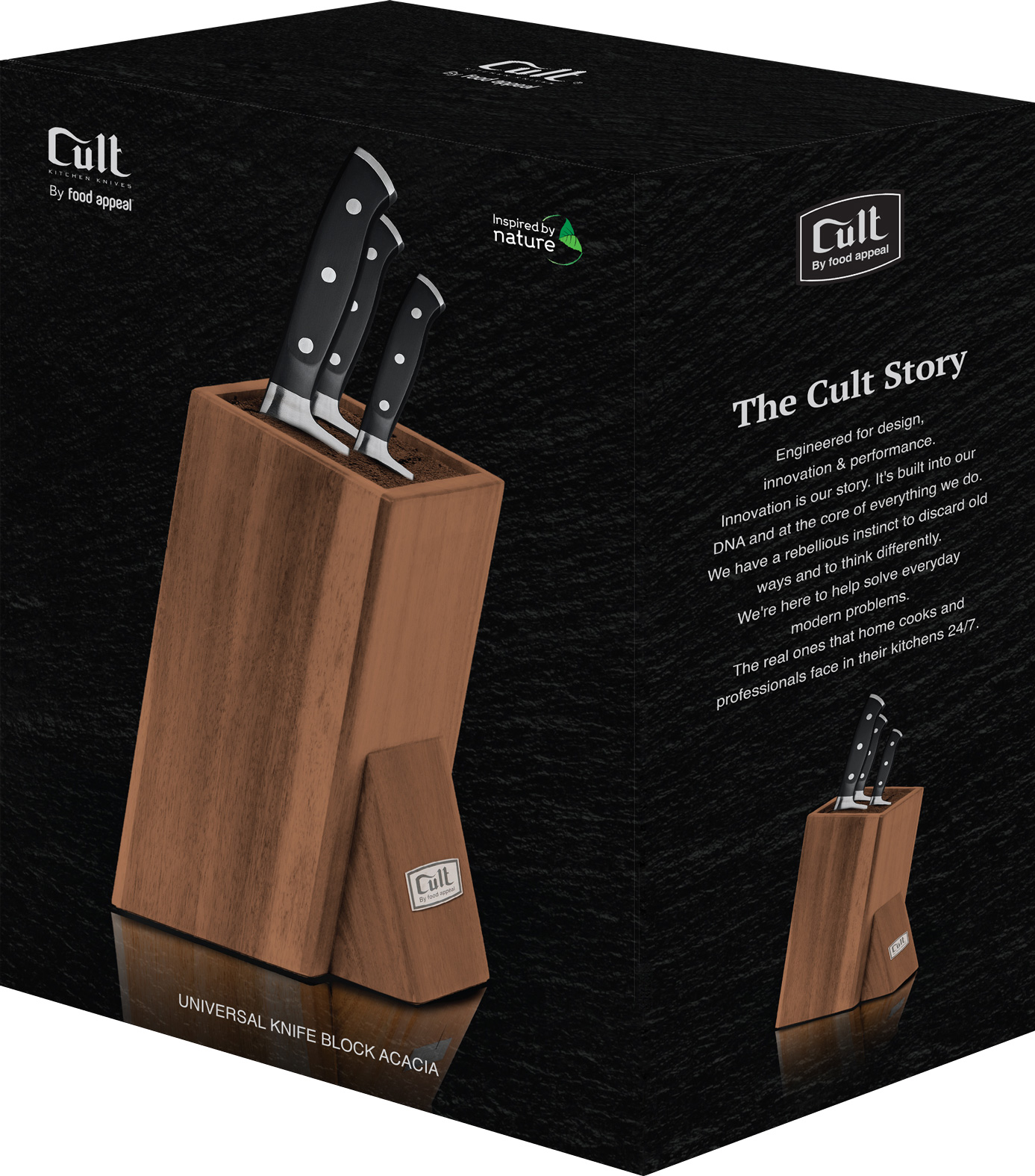מעמד סכינים אוניברסלי עשוי עץ שיטה Food Appeal Cult פוד אפיל